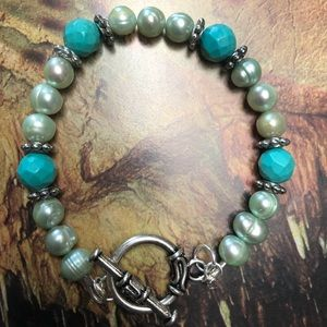 Casey Keith Design Jewelry - Turquoise and Pearl Bracelet